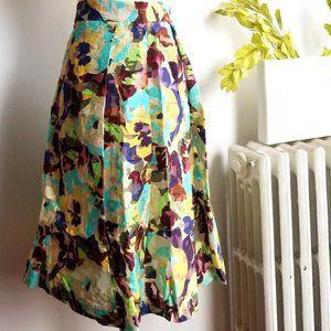Zara Multicolor A Line Floral Midi Skirt
